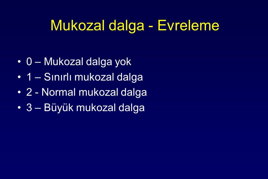 Mukozal dalga - Evreleme 0 – Mukozal dalga yok 1 – Sınırlı mukozal dalga 2 - Normal mukozal dalga 3 – Büyük mukozal dalga