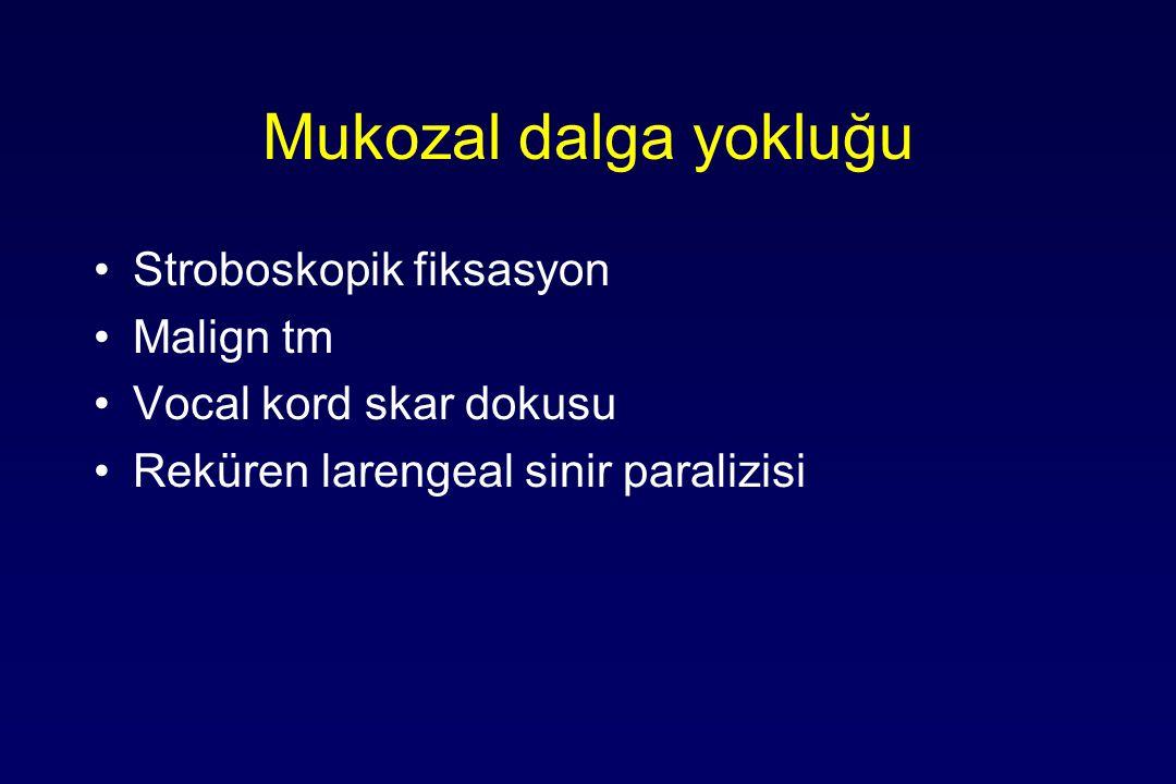 Mukozal dalga yokluğu Stroboskopik fiksasyon Malign tm Vocal kord skar dokusu Reküren larengeal sinir paralizisi