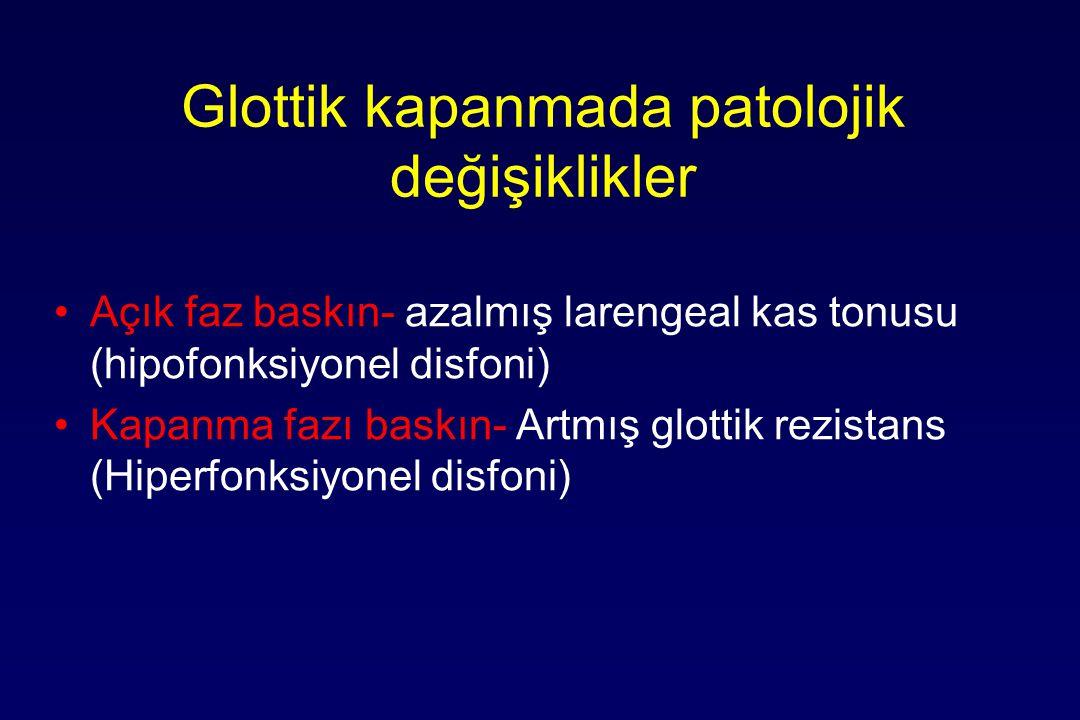 Glottik kapanmada patolojik değişiklikler Açık faz baskın- azalmış larengeal kas tonusu (hipofonksiyonel disfoni) Kapanma fazı baskın- Artmış glottik rezistans (Hiperfonksiyonel disfoni)