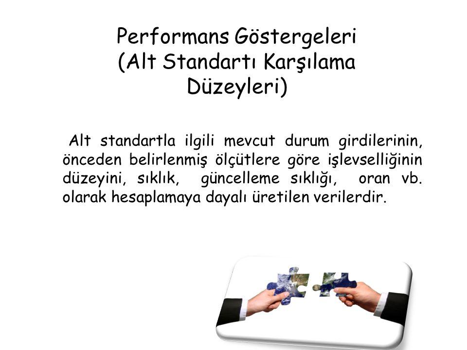 Performans Göstergeleri (Alt Standartı Karşılama Düzeyleri) Alt standartla ilgili mevcut durum girdilerinin, önceden belirlenmiş ölçütlere göre işlevs