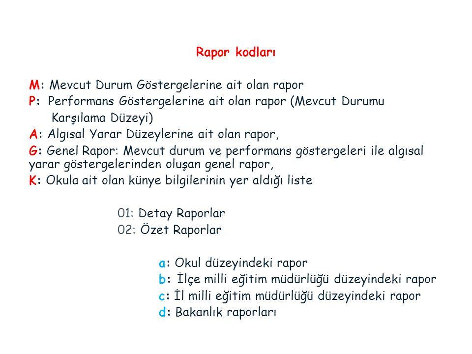 Rapor kodları M: Mevcut Durum Göstergelerine ait olan rapor P: Performans Göstergelerine ait olan rapor (Mevcut Durumu Karşılama Düzeyi) A: Algısal Ya