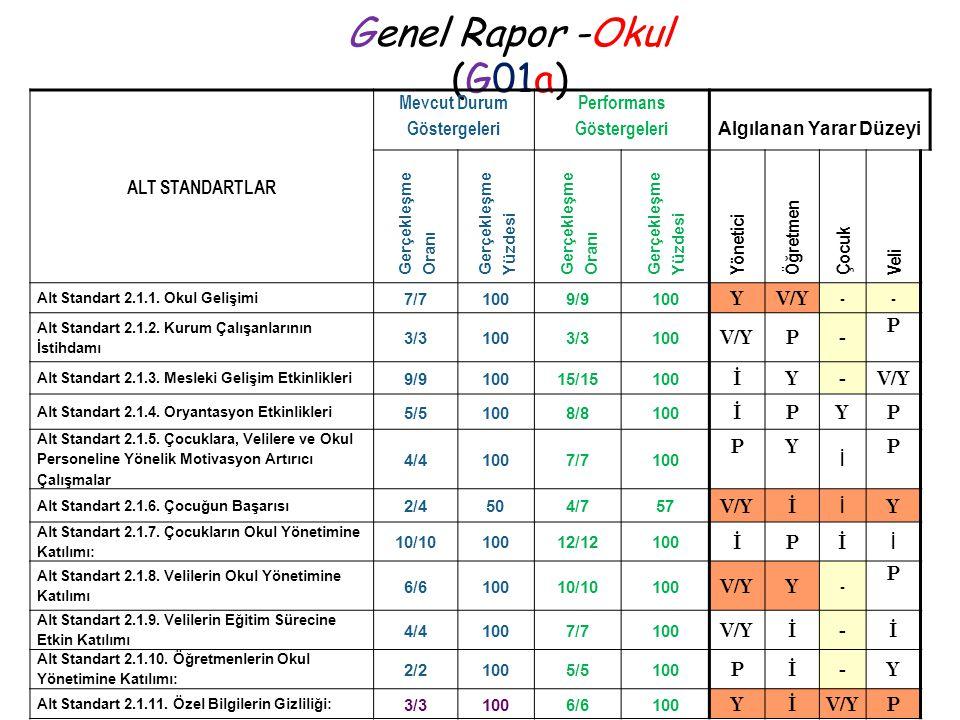 Genel Rapor -Okul (G01a) ALT STANDARTLAR Mevcut Durum Göstergeleri Performans Göstergeleri Algılanan Yarar Düzeyi Gerçekleşme Oranı Gerçekleşme Yüzdes