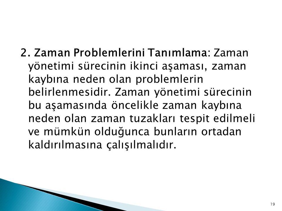 19 2. Zaman Problemlerini Tanımlama: Zaman yönetimi sürecinin ikinci aşaması, zaman kaybına neden olan problemlerin belirlenmesidir. Zaman yönetimi sü