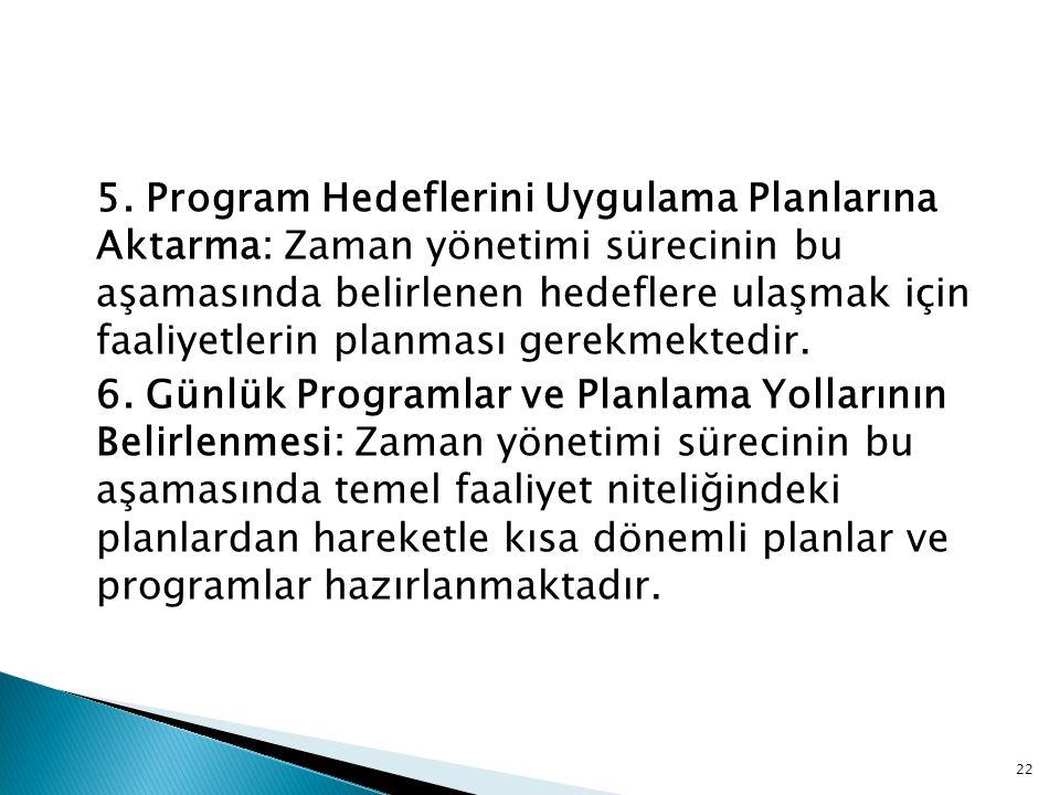22 5. Program Hedeflerini Uygulama Planlarına Aktarma: Zaman yönetimi sürecinin bu aşamasında belirlenen hedeflere ulaşmak için faaliyetlerin planması