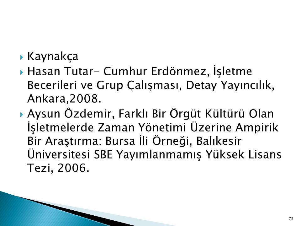 73  Kaynakça  Hasan Tutar- Cumhur Erdönmez, İşletme Becerileri ve Grup Çalışması, Detay Yayıncılık, Ankara,2008.  Aysun Özdemir, Farklı Bir Örgüt K