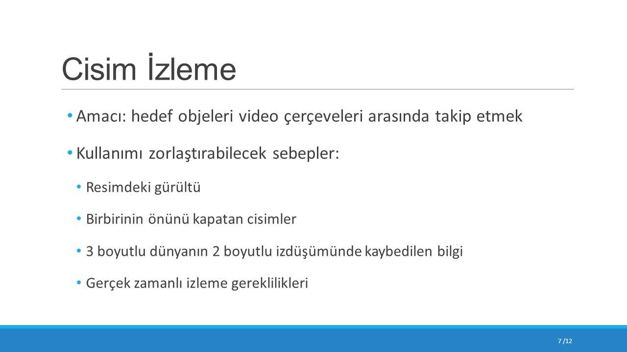 Cisim İzleme Amacı: hedef objeleri video çerçeveleri arasında takip etmek Kullanımı zorlaştırabilecek sebepler: Resimdeki gürültü Birbirinin önünü kap