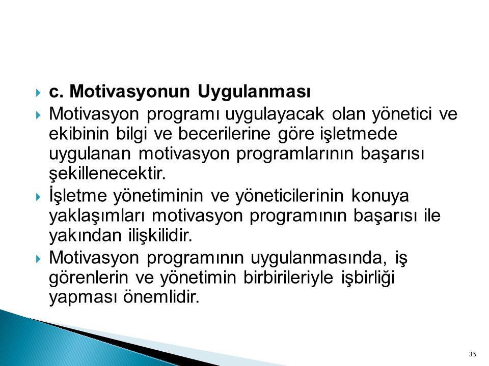 35  c. Motivasyonun Uygulanması  Motivasyon programı uygulayacak olan yönetici ve ekibinin bilgi ve becerilerine göre işletmede uygulanan motivasyon