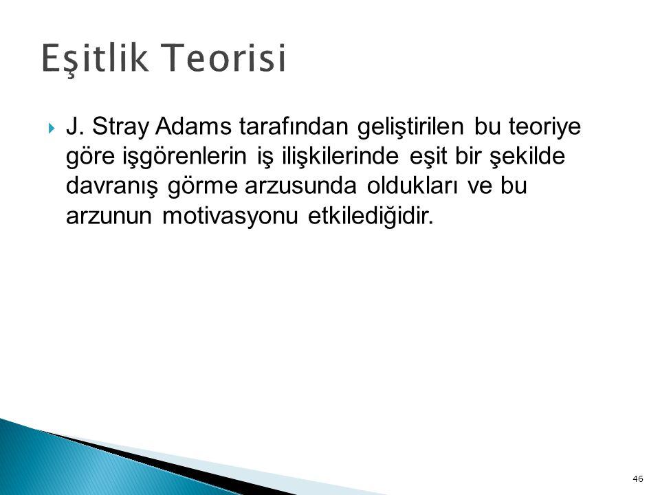46  J. Stray Adams tarafından geliştirilen bu teoriye göre işgörenlerin iş ilişkilerinde eşit bir şekilde davranış görme arzusunda oldukları ve bu ar