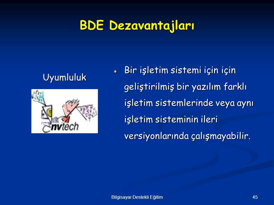45Bilgisayar Destekli Eğitim BDE Dezavantajları  Bir işletim sistemi için için geliştirilmiş bir yazılım farklı işletim sistemlerinde veya aynı işlet
