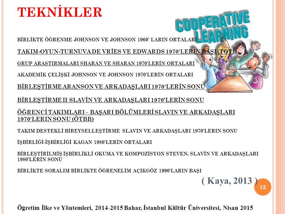 Öğretim İlke ve Yöntemleri, 2014-2015 Bahar, İstanbul Kültür Üniversitesi, Nisan 2015 TEKNİKLER BİRLİKTE ÖĞRENME JOHNSON VE JOHNSON 1960' LARIN ORTALA