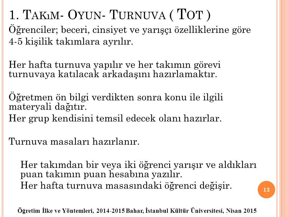 Öğretim İlke ve Yöntemleri, 2014-2015 Bahar, İstanbul Kültür Üniversitesi, Nisan 2015 1. T AKıM - O YUN - T URNUVA ( T OT ) Öğrenciler; beceri, cinsiy