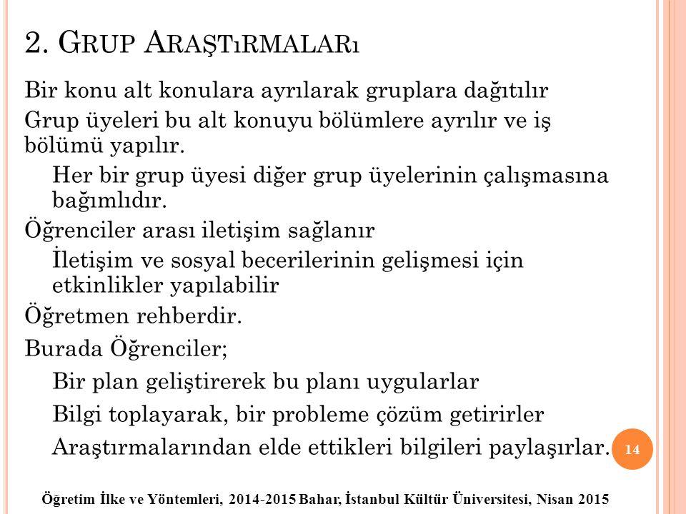 Öğretim İlke ve Yöntemleri, 2014-2015 Bahar, İstanbul Kültür Üniversitesi, Nisan 2015 2. G RUP A RAŞTıRMALARı Bir konu alt konulara ayrılarak gruplara