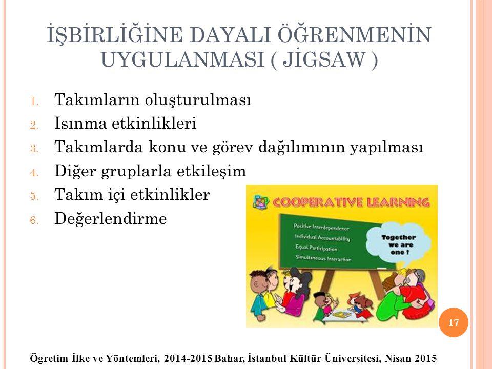 Öğretim İlke ve Yöntemleri, 2014-2015 Bahar, İstanbul Kültür Üniversitesi, Nisan 2015 18 2-6 kişiden oluşan takımlar Takımlar heterojen olmalıdır, tüm takımların başarı düzeyleri birbirine yakın olmalıdır.