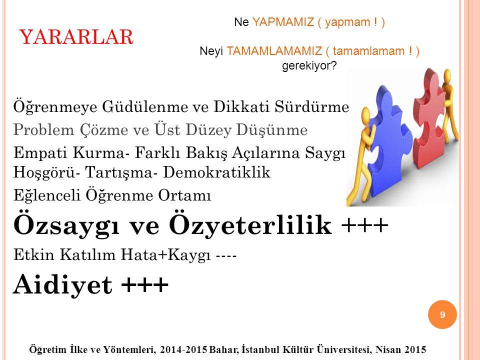 Öğretim İlke ve Yöntemleri, 2014-2015 Bahar, İstanbul Kültür Üniversitesi, Nisan 2015 YARARLAR Öğrenmeye Güdülenme ve Dikkati Sürdürme Problem Çözme v