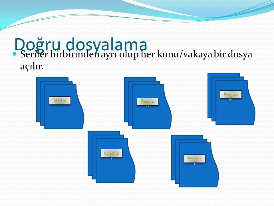 Doğru dosyalama Seriler birbirinden ayrı olup her konu/vakaya bir dosya açılır.