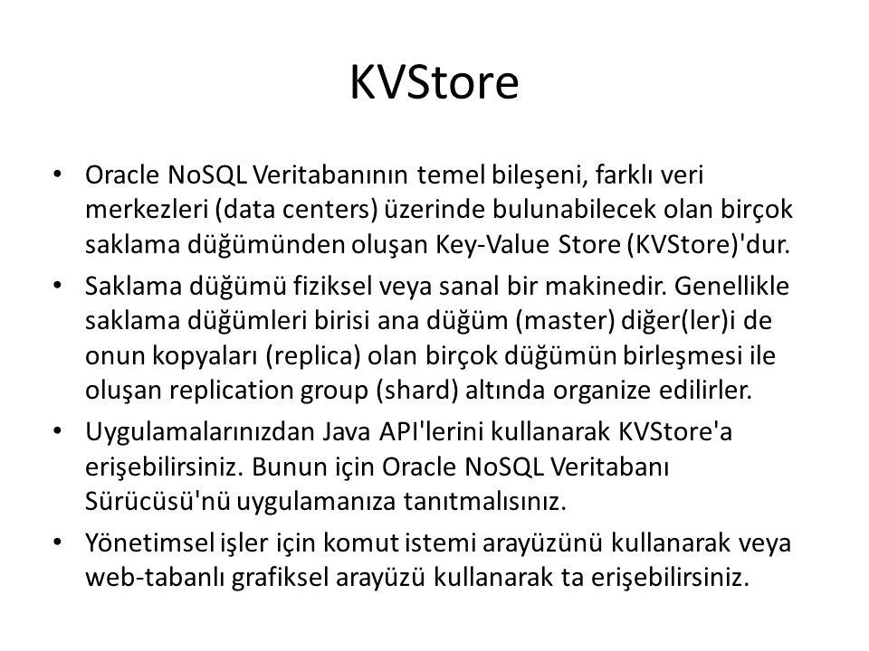 KVStore Oracle NoSQL Veritabanının temel bileşeni, farklı veri merkezleri (data centers) üzerinde bulunabilecek olan birçok saklama düğümünden oluşan