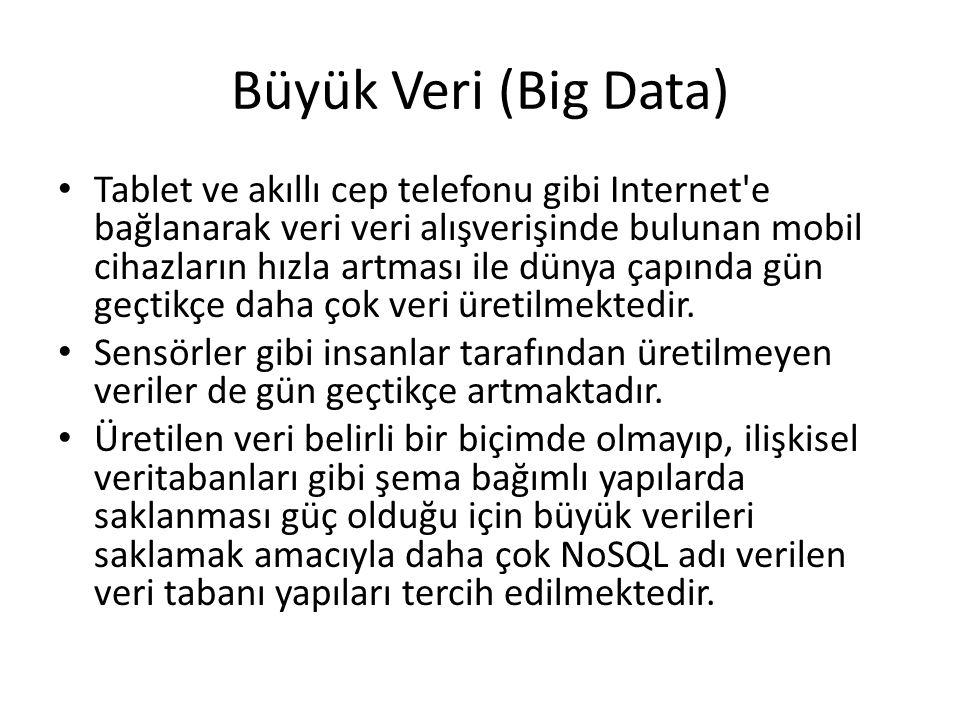 Büyük Veri (Big Data) Tablet ve akıllı cep telefonu gibi Internet'e bağlanarak veri veri alışverişinde bulunan mobil cihazların hızla artması ile düny