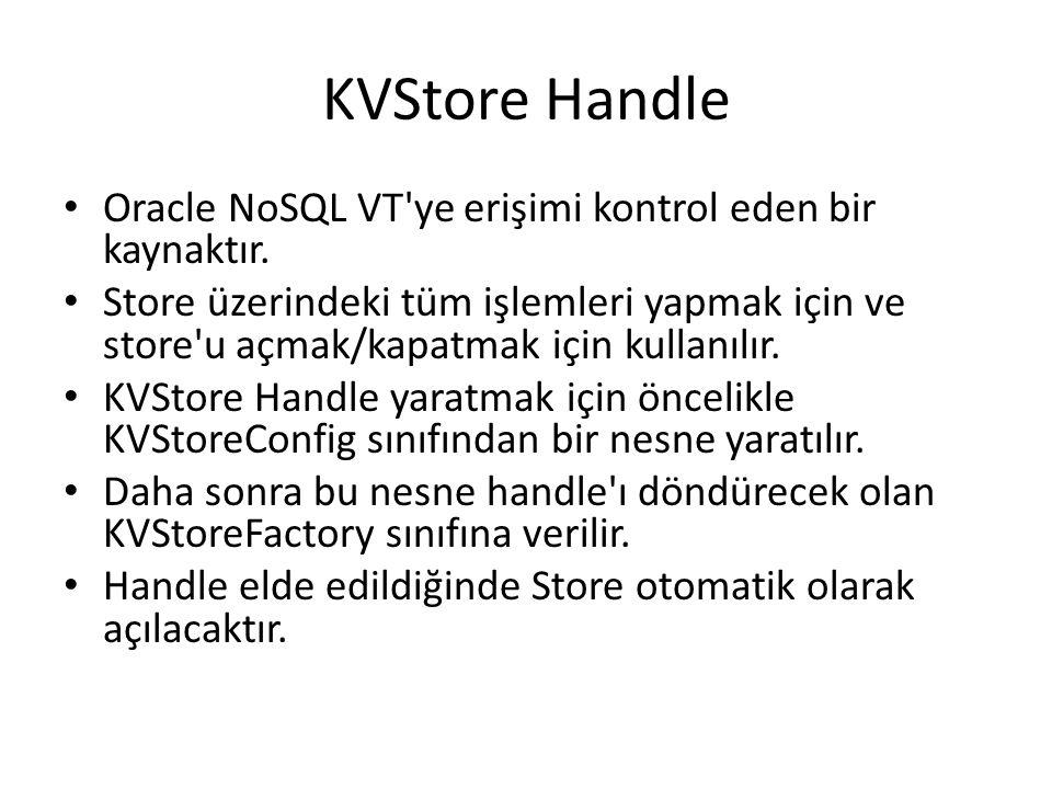 KVStore Handle Oracle NoSQL VT'ye erişimi kontrol eden bir kaynaktır. Store üzerindeki tüm işlemleri yapmak için ve store'u açmak/kapatmak için kullan