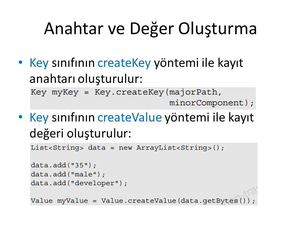 Anahtar ve Değer Oluşturma Key sınıfının createKey yöntemi ile kayıt anahtarı oluşturulur: Key sınıfının createValue yöntemi ile kayıt değeri oluşturu