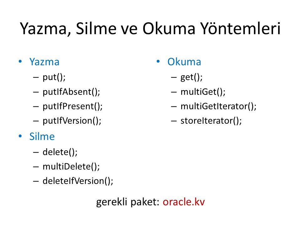 Yazma, Silme ve Okuma Yöntemleri Yazma – put(); – putIfAbsent(); – putIfPresent(); – putIfVersion(); Silme – delete(); – multiDelete(); – deleteIfVers