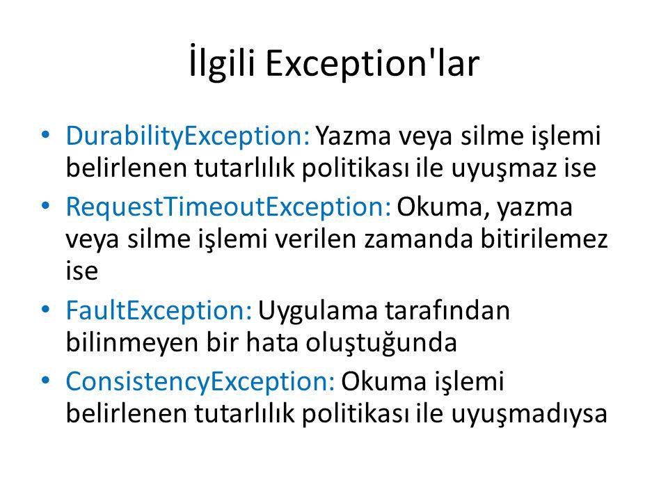 İlgili Exception'lar DurabilityException: Yazma veya silme işlemi belirlenen tutarlılık politikası ile uyuşmaz ise RequestTimeoutException: Okuma, yaz