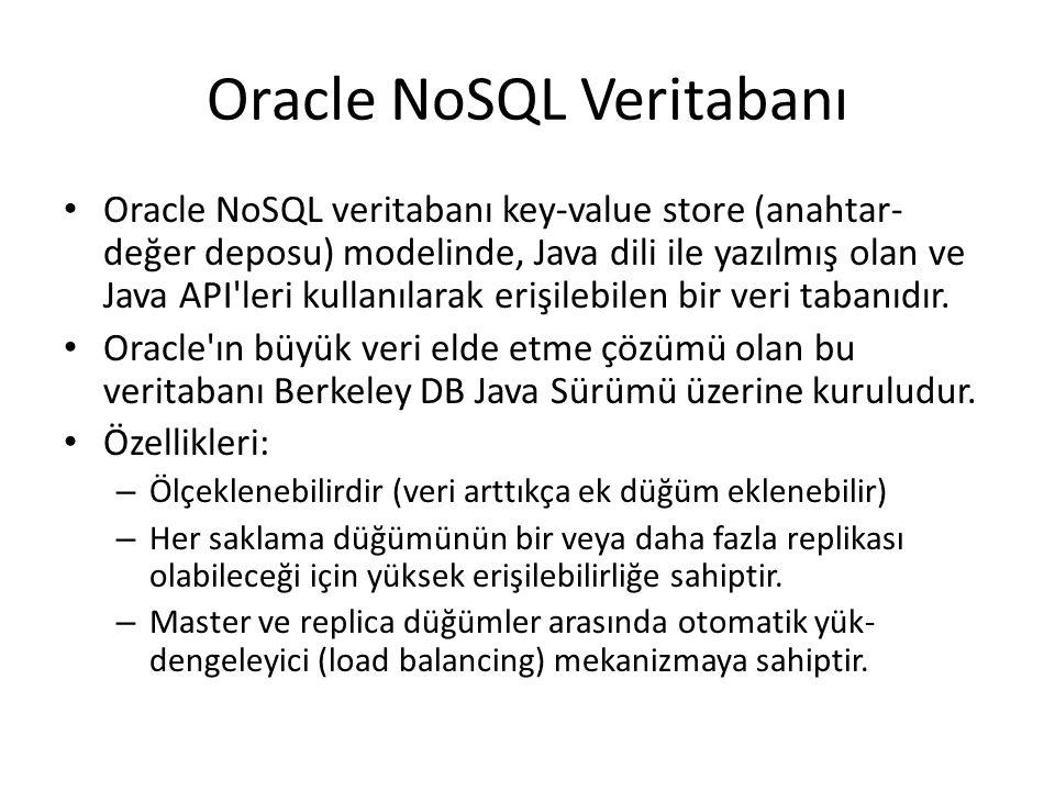 Oracle NoSQL Veritabanı Oracle NoSQL veritabanı key-value store (anahtar- değer deposu) modelinde, Java dili ile yazılmış olan ve Java API'leri kullan