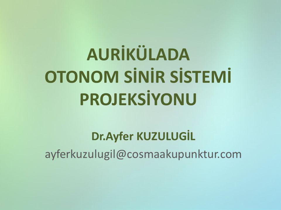 AURİKÜLADA OTONOM SİNİR SİSTEMİ PROJEKSİYONU Dr.Ayfer KUZULUGİL ayferkuzulugil@cosmaakupunktur.com