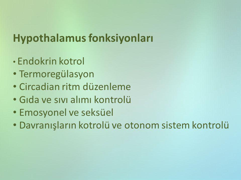 Hypothalamus fonksiyonları Endokrin kotrol Termoregülasyon Circadian ritm düzenleme Gıda ve sıvı alımı kontrolü Emosyonel ve seksüel Davranışların kot