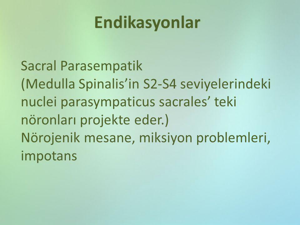 Endikasyonlar Sacral Parasempatik (Medulla Spinalis'in S2-S4 seviyelerindeki nuclei parasympaticus sacrales' teki nöronları projekte eder.) Nörojenik