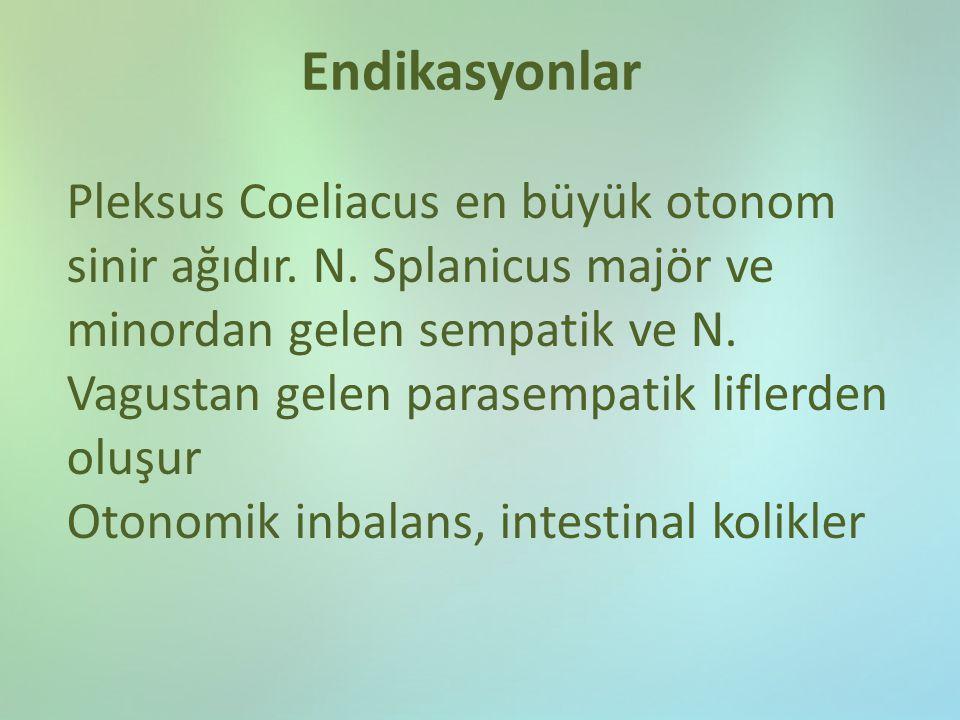 Endikasyonlar Pleksus Coeliacus en büyük otonom sinir ağıdır. N. Splanicus majör ve minordan gelen sempatik ve N. Vagustan gelen parasempatik liflerde