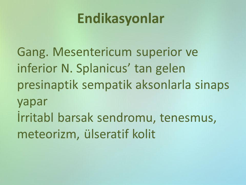 Endikasyonlar Gang. Mesentericum superior ve inferior N. Splanicus' tan gelen presinaptik sempatik aksonlarla sinaps yapar İrritabl barsak sendromu, t