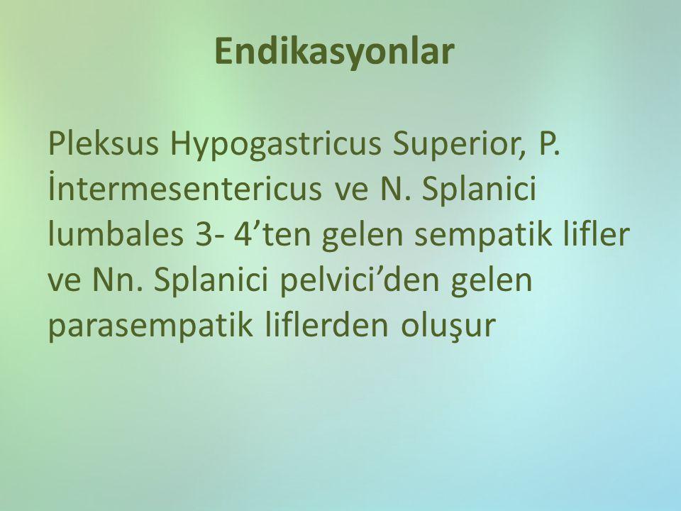 Endikasyonlar Pleksus Hypogastricus Superior, P. İntermesentericus ve N. Splanici lumbales 3- 4'ten gelen sempatik lifler ve Nn. Splanici pelvici'den