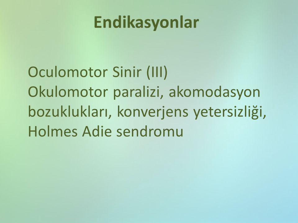 Endikasyonlar Oculomotor Sinir (III) Okulomotor paralizi, akomodasyon bozuklukları, konverjens yetersizliği, Holmes Adie sendromu