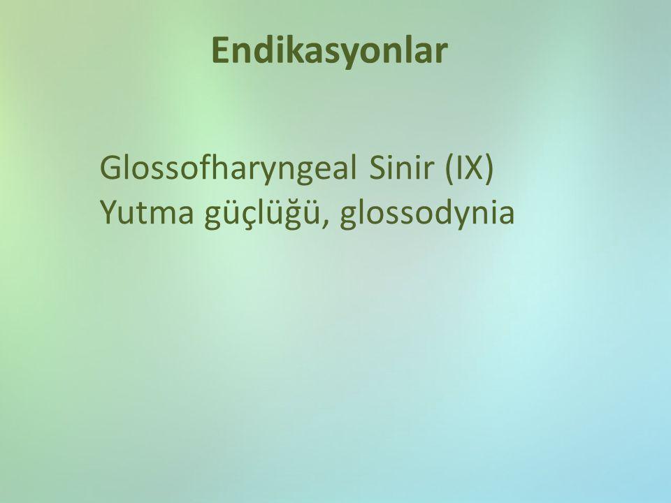 Endikasyonlar Glossofharyngeal Sinir (IX) Yutma güçlüğü, glossodynia
