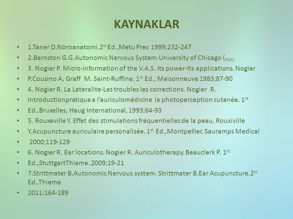 KAYNAKLAR 1.Taner D.Nöroanatomi.2 st Ed.,Metu Pres 1999;232-247 2.Bernston G.G.Autonomic Nervous System.University of Chicago ( PDF) 3. Nogier P. Micr