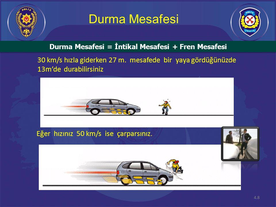 4.8 Durma Mesafesi Eğer hızınız 50 km/s ise çarparsınız.
