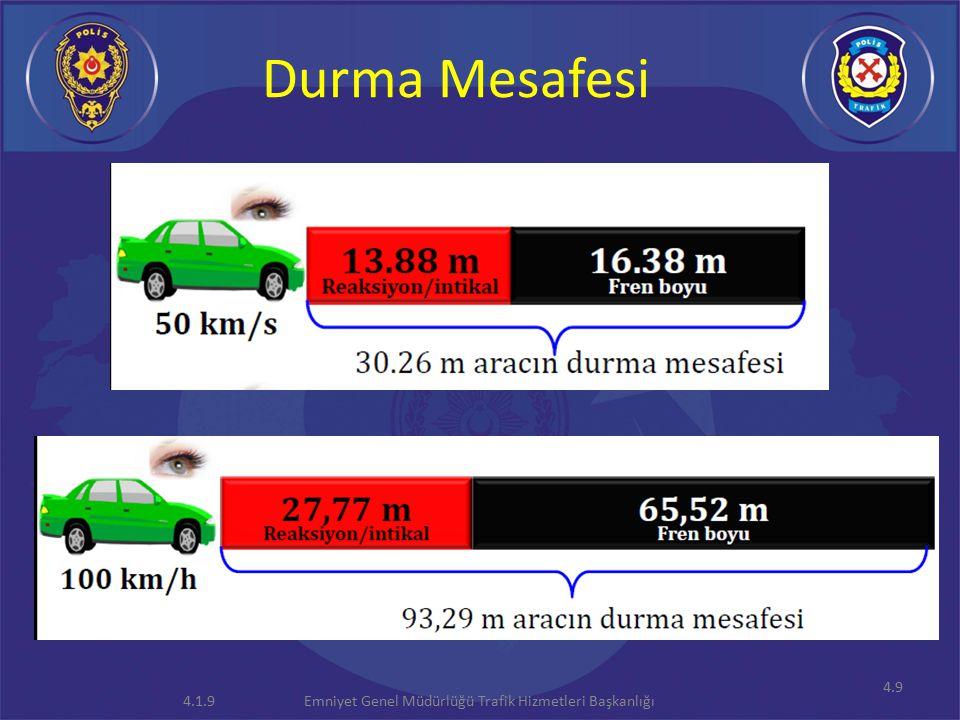 4.9 Durma Mesafesi Emniyet Genel Müdürlüğü Trafik Hizmetleri Başkanlığı4.1.9