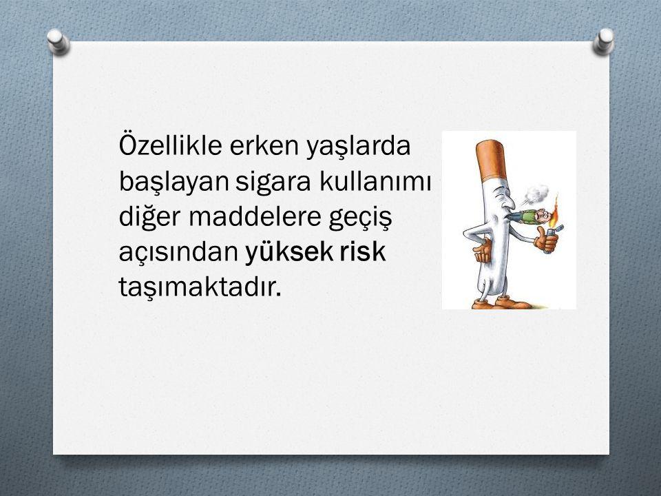 Özellikle erken yaşlarda başlayan sigara kullanımı diğer maddelere geçiş açısından yüksek risk taşımaktadır.