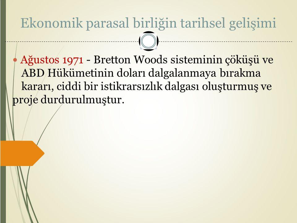 Ekonomik parasal birliğin tarihsel gelişimi Ağustos 1971 - Bretton Woods sisteminin çöküşü ve ABD Hükümetinin doları dalgalanmaya bırakma kararı, cidd