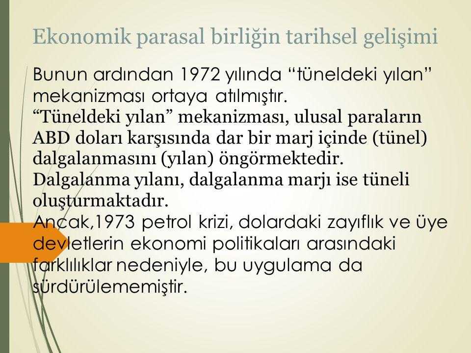 """Ekonomik parasal birliğin tarihsel gelişimi Bunun ardından 1972 yılında """"tüneldeki yılan"""" mekanizması ortaya atılmıştır. """"Tüneldeki yılan"""" mekanizması"""