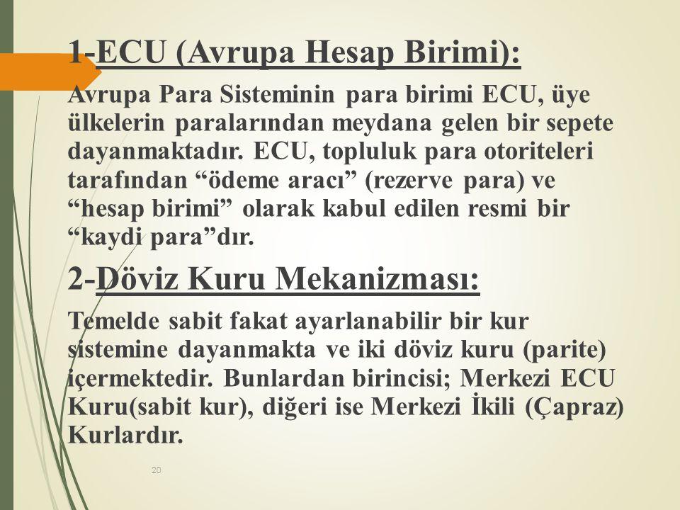 20 1-ECU (Avrupa Hesap Birimi): Avrupa Para Sisteminin para birimi ECU, üye ülkelerin paralarından meydana gelen bir sepete dayanmaktadır. ECU, toplul