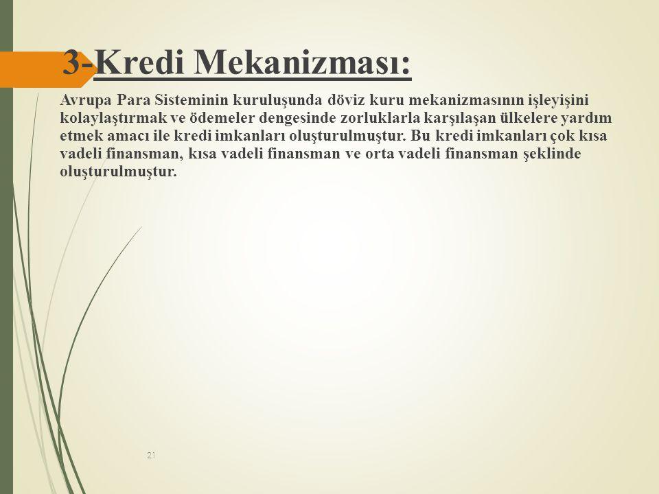 21 3-Kredi Mekanizması: Avrupa Para Sisteminin kuruluşunda döviz kuru mekanizmasının işleyişini kolaylaştırmak ve ödemeler dengesinde zorluklarla karş