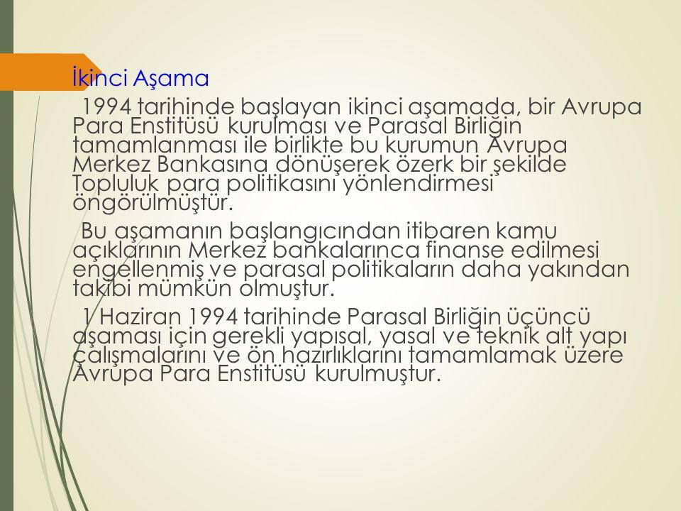 İkinci Aşama 1994 tarihinde başlayan ikinci aşamada, bir Avrupa Para Enstitüsü kurulması ve Parasal Birliğin tamamlanması ile birlikte bu kurumun Avru