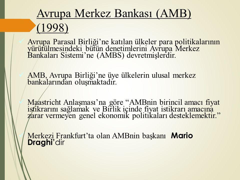 Avrupa Merkez Bankası (AMB) (1998) Avrupa Parasal Birliği'ne katılan ülkeler para politikalarının yürütülmesindeki bütün denetimlerini Avrupa Merkez B