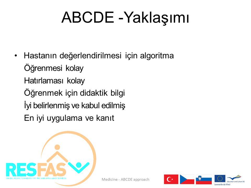 ABCDE -Yaklaşımı Hastanın değerlendirilmesi için algoritma Öğrenmesi kolay Hatırlaması kolay Öğrenmek için didaktik bilgi İyi belirlenmiş ve kabul edi