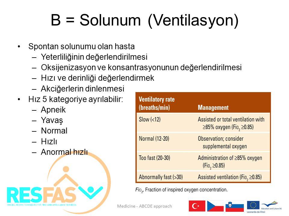 Solunum (Ventilasyon) Hipoksi: Akciğerlerin uygunsuz havalanması veya dokularda oksijen eksikliği Solunumu olmayan hastada BVM'nin hemen kullanımı Yardımcı yöntemlerle havayolunun korunması Ventilasyon yardımının sürdürülmesi Medicine - ABCDE approach
