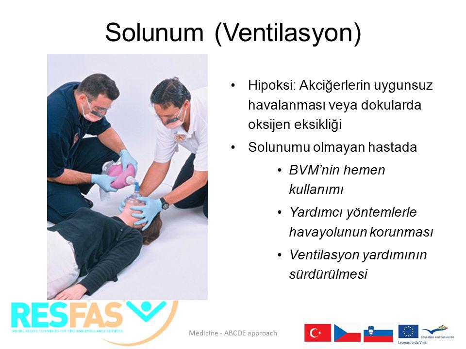 Solunum (Ventilasyon) Hipoksi: Akciğerlerin uygunsuz havalanması veya dokularda oksijen eksikliği Solunumu olmayan hastada BVM'nin hemen kullanımı Yar