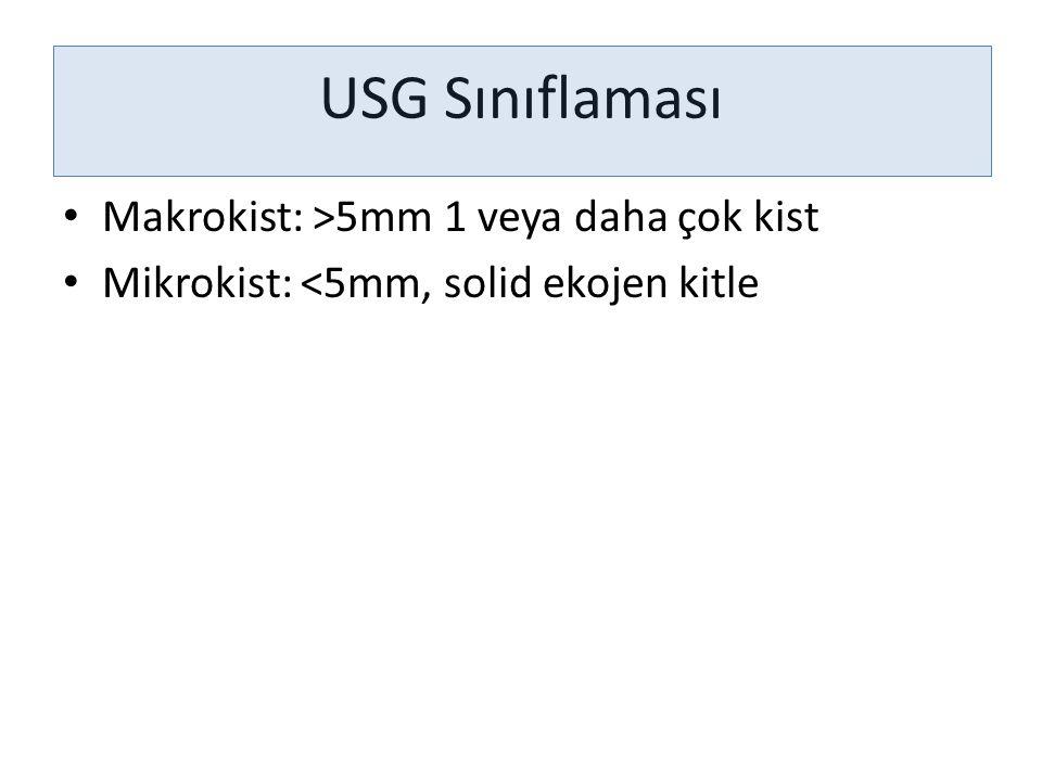 USG Sınıflaması Makrokist: >5mm 1 veya daha çok kist Mikrokist: <5mm, solid ekojen kitle
