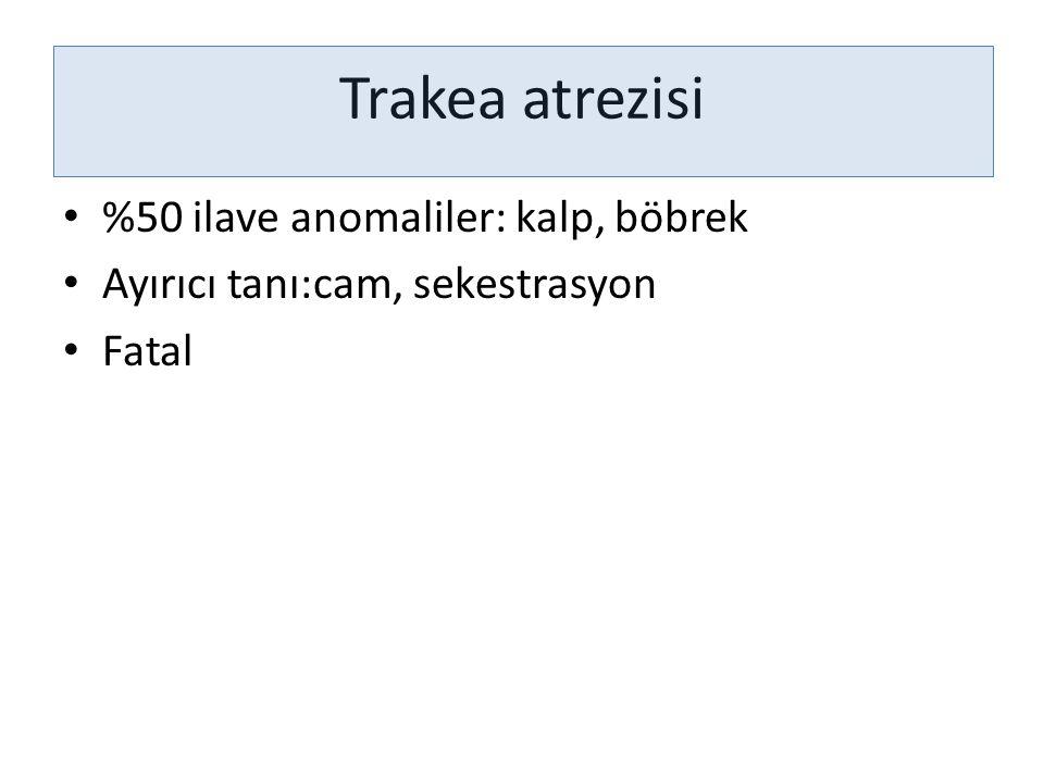 Trakea atrezisi %50 ilave anomaliler: kalp, böbrek Ayırıcı tanı:cam, sekestrasyon Fatal