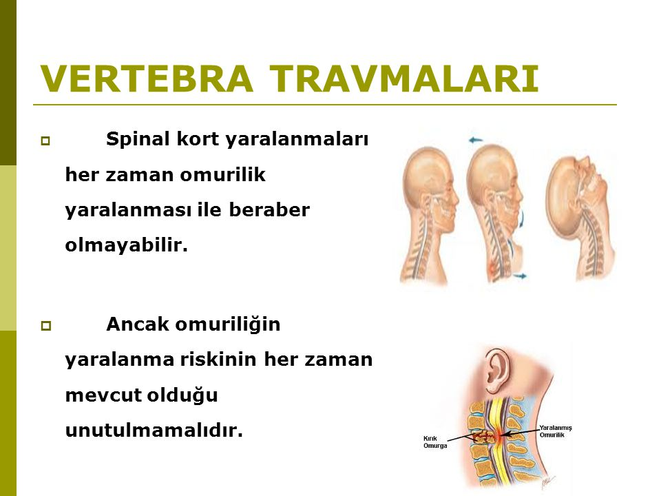 VERTEBRA TRAVMALARI  Spinal kort yaralanmaları her zaman omurilik yaralanması ile beraber olmayabilir.  Ancak omuriliğin yaralanma riskinin her zama